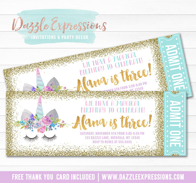 Unicorn Glitter Ticket Invitation 12 - FREE thank you card included