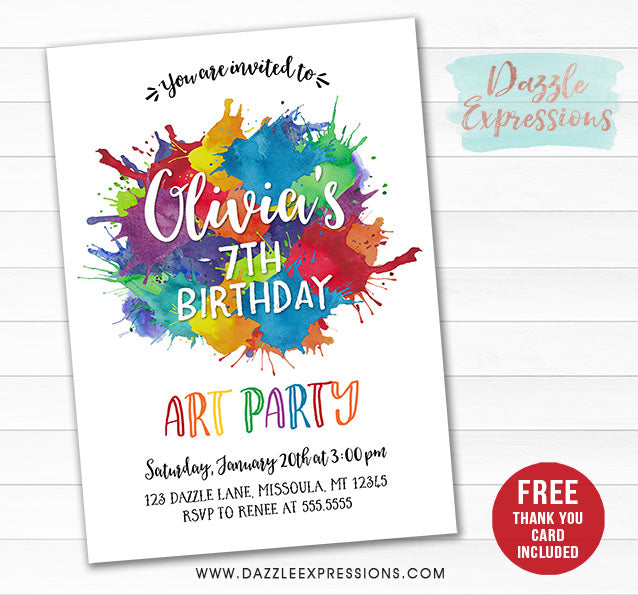 Watercolor Art Invitation - FREE thank you card included