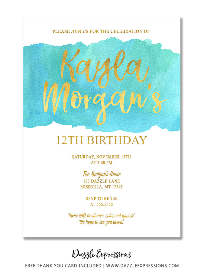 Watercolor Splash Invitation 1 - FREE thank you card