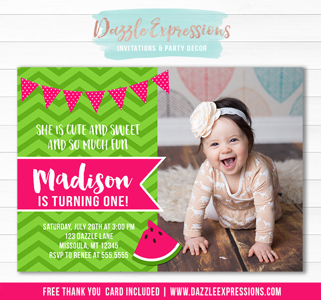 Watermelon Invitation 6 - Thank you card included