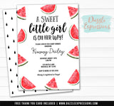 Watermelon Watercolor Baby Shower Invitation - FREE thank you card