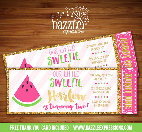 Watermelon and Gold Glitter Ticket Invitation - FREE thank you card
