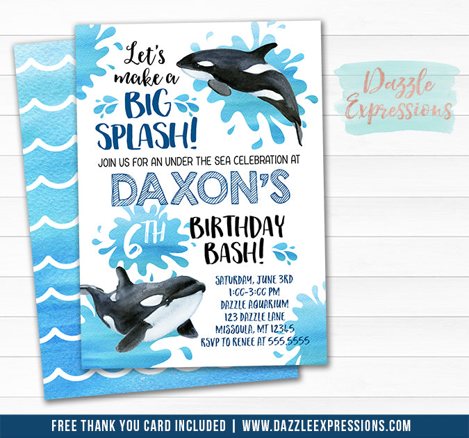 Orca Whale Watercolor Birthday Invitation - FREE thank you card