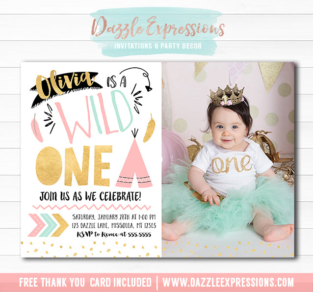 Wild One Invitation 3 - FREE thank you card