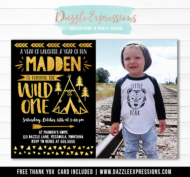 Wild One Invitation 16 - FREE thank you card
