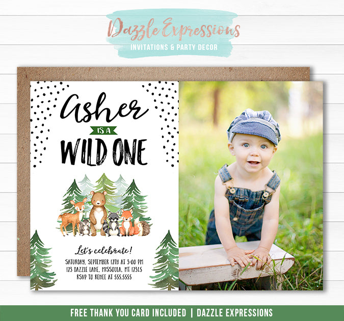 Wild One Woodland Birthday Invitation 2 - FREE thank you card