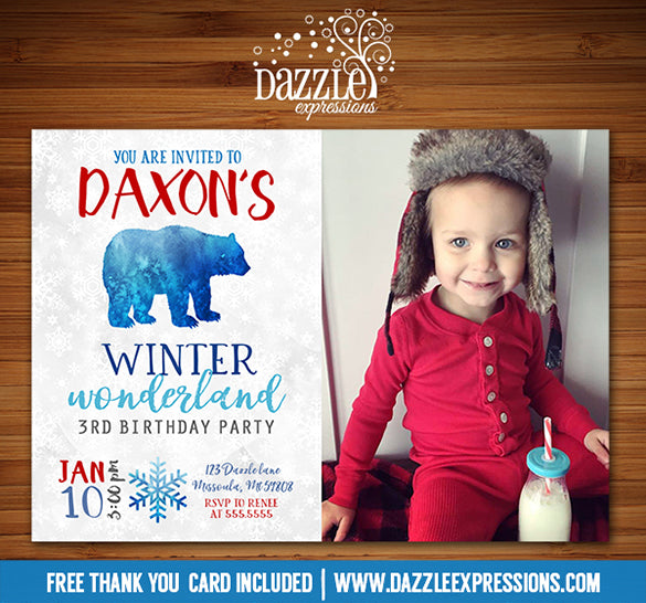 Winter Bear Invitation 2 - FREE thank you card included