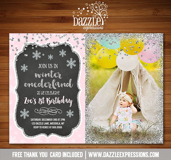 Winter Glitter Invitation 4 - FREE thank you card included