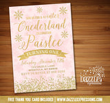 Winter Glitter Invitation 5 - FREE thank you card included