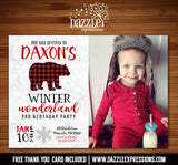 Winter Plaid Bear Invitation 1 - FREE thank you card included