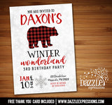 Winter Plaid Bear Invitation 2 - FREE thank you card included