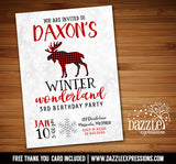 Winter Plaid Moose Invitation 2 - FREE thank you card included
