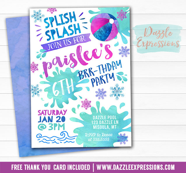 Pool Party Watercolor Winter Invitation - FREE thank you card