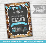 Winter Rustic Chalkboard Invitation 1 - FREE thank you card included
