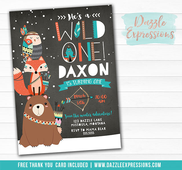 Winter Wild One - Tribal Woodland Chalkboard Invitation - FREE thank you card