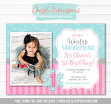 Winter Wonderland Birthday Invitation 3 - FREE thank you card included