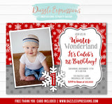 Winter Wonderland Birthday Invitation 4 - FREE thank you card included