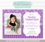 Winter Wonderland Birthday Invitation 7 - FREE thank you card included
