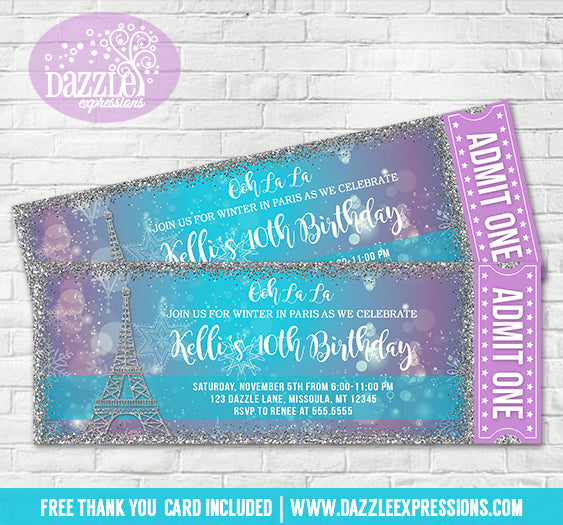Winter in Paris Glitter Ticket Invitation - FREE thank you card