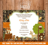 Woodland Camo Baby Shower Invitation 1 - FREE thank you card included