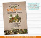 Woodland Camo Baby Shower Invitation 2 - FREE thank you card included