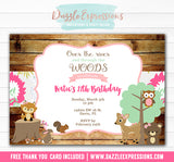 Woodland Birthday Invitation 6 - FREE thank you card included