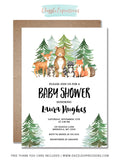 Watercolor Woodland Baby Shower Invitation 2 - FREE thank you card