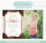 Young Wild and Three Invitation 1 - FREE thank you card