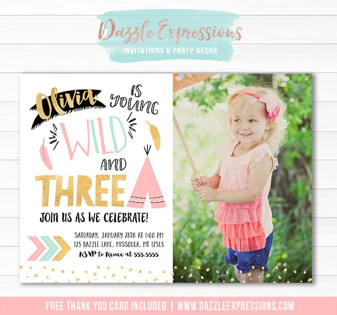Young Wild and Three Invitation 3 - FREE thank you card