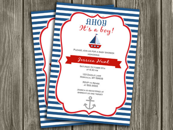 Sailboat Baby Shower Invitation - FREE Thank you card included