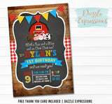 Barnyard Chalkboard Birthday Invitation 2 - FREE thank you card