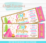 Glamping Ticket Birthday Invitation - FREE thank you card