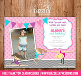 Gymnastics Birthday Invitation 1 - Thank You Card Included