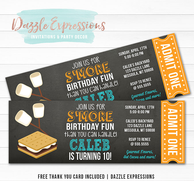 S'mores Ticket Invitation 1 - FREE thank you card included