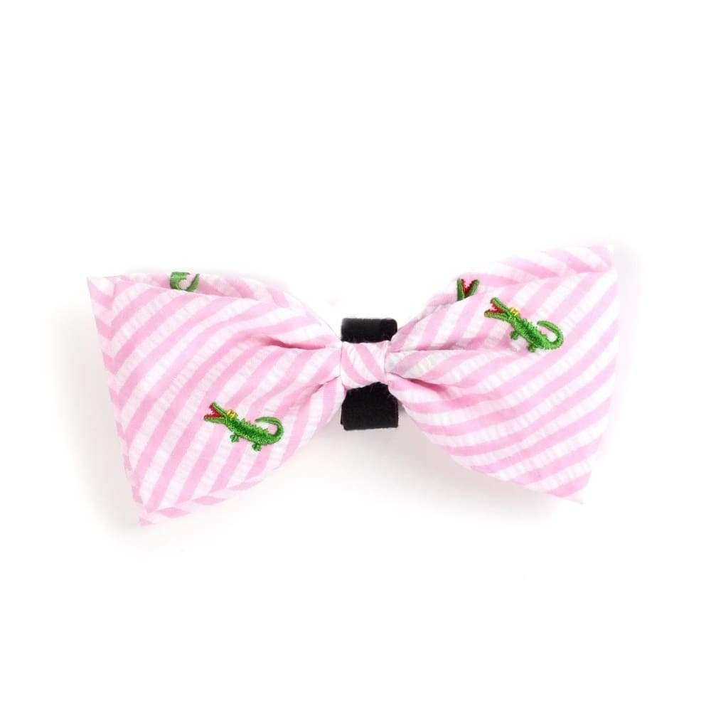 PINK STRIPE ALLIGATOR BOW TIE Bow Tie