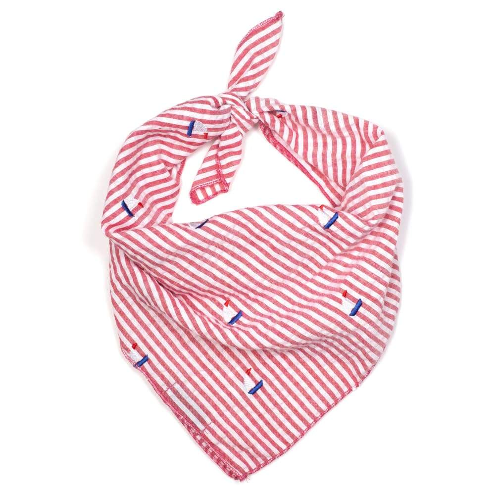 RED STRIPE SAILBOATS BANDANA Bandana