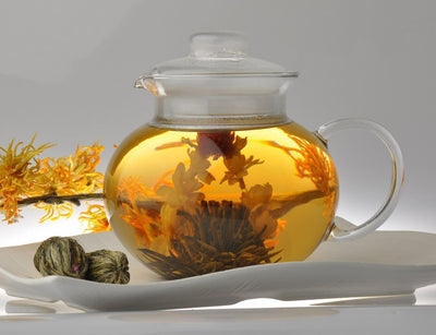 6 Unique Flower Varieties of Blooming Tea(Comes with Heat-resistant Glass Teapot)