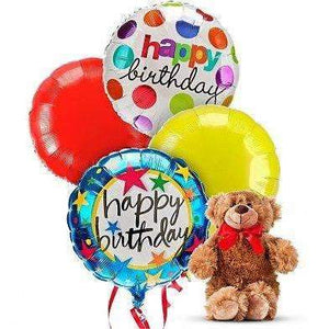 Birthday Balloons & Bear-2 Option - Gift Baskets By Design SB, Inc.