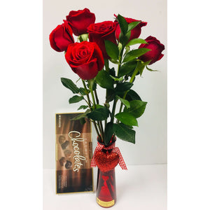 6-Roses , Chocolate & Bear - Gift Baskets By Design SB, Inc.