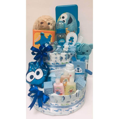 Cookie Monster Diaper Cake- 3 Characters Colors - Gift Baskets By Design SB