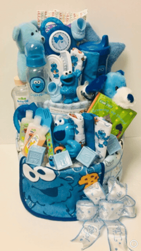 Cookie Monster Diaper Cake-2 Sizes - Gift Baskets By Design SB, Inc.