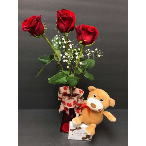 3 Rose, Mini Plush, chocolates & Balloons Combo - Gift Baskets By Design SB