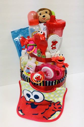 Baby Elmo Diaper Cake - Gift Baskets By Design SB, Inc.