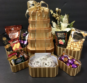 Golden Tower of Treat - Gift Baskets By Design SB, Inc.