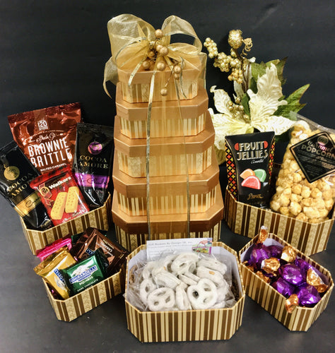 Golden Treat Tower - Gift Baskets By Design SB