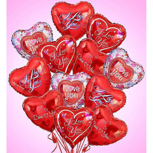 12 I Love u Balloons & 6 Roses, Chocolates Combo - Gift Baskets By Design SB