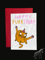 Happy Purrthday - Cat - Birthday Card