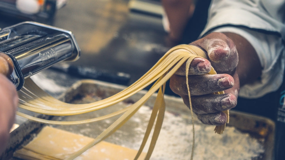 close up of someone making homemade pasta