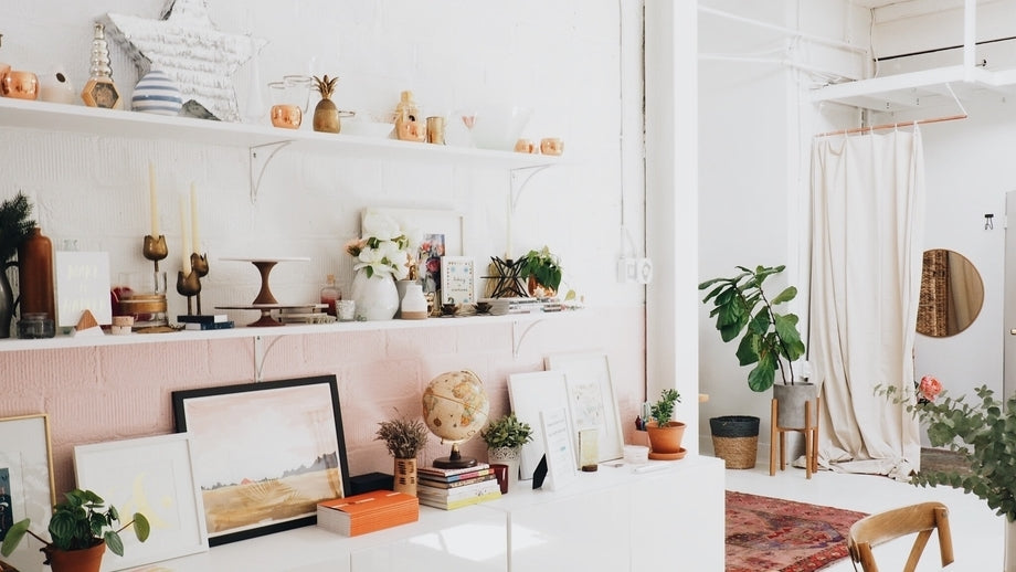 a bright room lined with shelves and a number of nick-nacks and plants