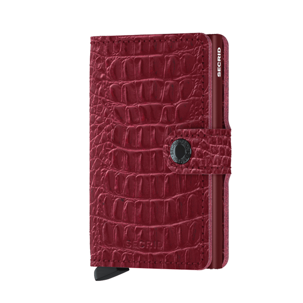 SECRID - Mini-portefeuille cuir - Croco rouge ruby